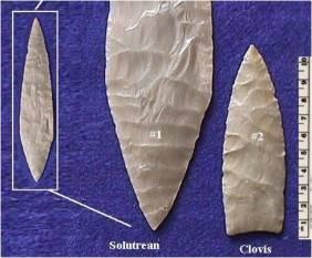 Comparison spear points -Solutrean to Clovis