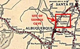 Location of Sandia Cave